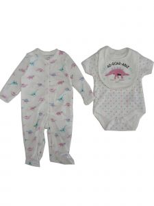 Weeplay Baby Girls White Dinosaur AD-ROAR-ABLE Bib Bodysuit Sleeper Set 0-9M