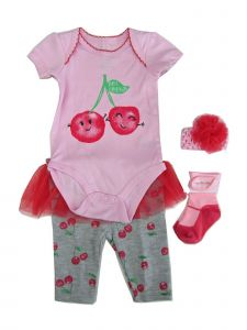 Weeplay Baby Girls Pink Cherry Print Bodysuit Pants Headband Socks Outfit 0-9M