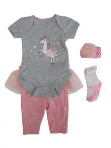 Weeplay Baby Girls Gray Unicorn Bodysuit Pants Headband Socks Outfit 0-9M