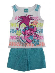 Dreamworks Little Girls White Teal Trolls Lace 2 Pc Shorts Outfit 2-4T