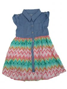 Cherokee Little Girls Multi Color Chevron Stripe Shirt-Style Denim Dress 2-4T