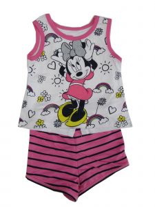 Disney Little Girls White Pink Minnie Print Tank Top 2 Pc Shorts Outfit 2-4T