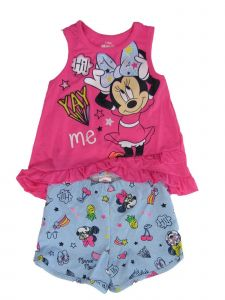 Disney Little Girls Pink Minnie Ruffle Trim Tank Top 2 Pc Shorts Outfit 2-4T