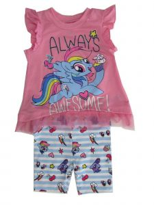 Hasbro Little Girls Pink Blue My Little Pony Print 2 Pc Shorts Outfit 2-4T