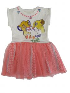 Disney Little Girls Bone White Coral The Lion King Short Sleeve Tutu Dress 2T-4T