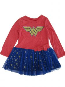 DC Comics Little Girls Red Wonder Woman Long Sleeve Tutu Dress 2T-4T