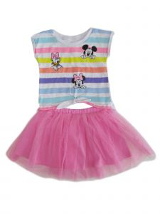 Disney Little Girls Pink Minnie Mickey Mouse Daisy Short Sleeve Tutu Set 2-4T