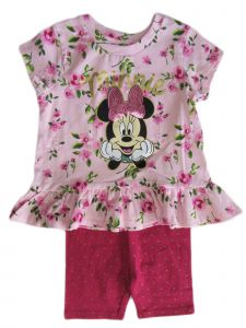 Disney Little Girls Pink Minnie Mouse Ruffle Short Sleeve Set 2-4T
