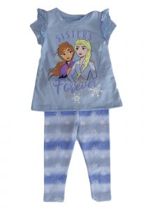 Disney Little Girls Blue Frozen Short Sleeve Ruffle T-Shirt Legging Set 2-4T