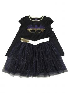 DC Comics Big Girls Black Batgirl Detachable Cape Dress Halloween Costume 8-14