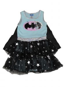 DC Comics Big Girls Blue Batgirl Detachable Cape Dress Halloween Costume 8-14