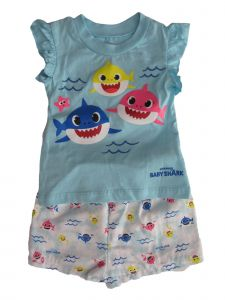 Pingfong Little Girls Blue Baby Shark Flutter Sleeve Top Shorts Outfit 2T