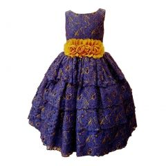 Big Girls Royal Blue Floral Embroidery Lace Tiered Special Occasion Dress 8-14
