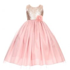 Big Girls Dusty Rose Corsage Sequin Shiny Tulle Junior Bridesmaid Dress 8-16