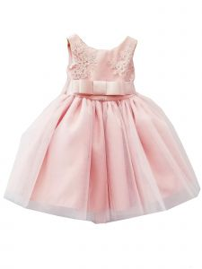 Sinai Kids Baby Girls Blush Embroidered V-Cut Back Flower Girl Dress 18-24M