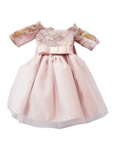 Sinai Kids Baby Girls Pink Embroidered Ribbon Accent Flower Girl Dress 6-24M