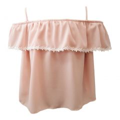Little Girls Blush Trimmed Overlay Spaghetti Strap Off-Shoulder Top 4-6