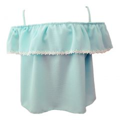 Big Girls Mint Trimmed Overlay Spaghetti Strap Off-Shoulder Top 8-14