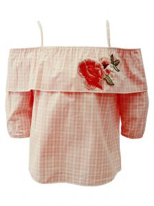 Little Girls Pink White Square Off-Shoulder Strap Embroidered Blouse 2-6