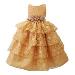 Big Girls Gold Floral Belt Lace Tiered Sleeveless Junior Bridesmaid Dress 8-16