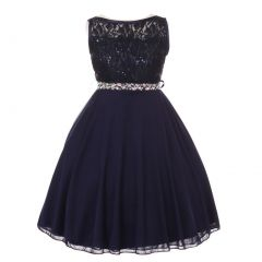 Little Girls Navy Sparkle Sequin Lace Chiffon Occasion Dress 2-6