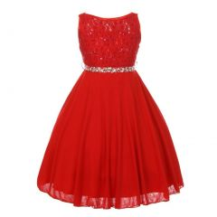 Little Girls Red Sparkle Sequin Lace Chiffon Occasion Dress 2-6