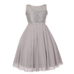 Little Girls Silver Sparkle Sequin Lace Chiffon Occasion Dress 2-6