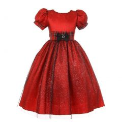 Little Girls Red Plaid Trim Glitter Bow Taffeta Tulle Christmas Dress 2-6