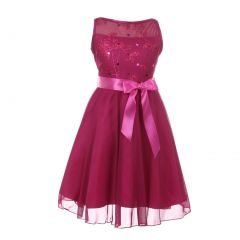Cinderella Couture Little Girls Fuchsia Glitter Sequin Flower Girl Dress 4-6