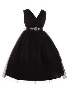 Big Girls Black Rhinestone Satin Sash V-Neck Tulle Junior Bridesmaid Dress 8-14