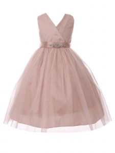 Big Girls Blush Rhinestone Satin Sash V-Neck Tulle Junior Bridesmaid Dress 8-14