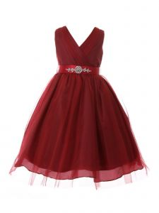 Little Girls Burgundy Rhinestone Satin Sash V-Neck Tulle Flower Girl Dress 2-6