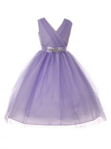 Big Girls Lilac Rhinestone Satin Sash V-Neck Tulle Junior Bridesmaid Dress 8-14