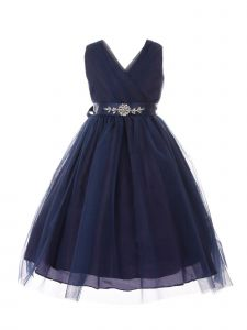 Little Girls Navy Rhinestone Satin Sash V-Neck Tulle Flower Girl Dress 2-6