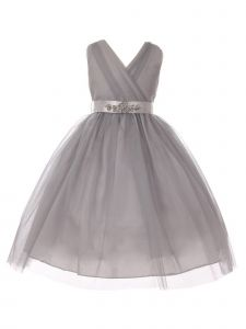 Little Girls Silver Rhinestone Satin Sash V-Neck Tulle Flower Girl Dress 2-6
