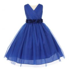 Big Girls Royal Blue Chiffon Flowers Tulle Junior Bridesmaid Dress 12