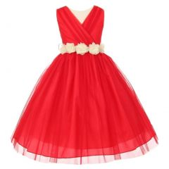 Little Girls Red Ivory Chiffon Floral Sash Tulle Flower Girl Dress 2-6