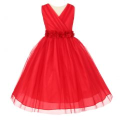 Little Girls Red Chiffon Floral Sash Crystal Tulle Flower Girl Dress 2-6