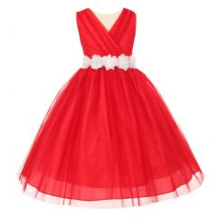 Little Girls Red White Chiffon Floral Sash Tulle Flower Girl Dress 2-6