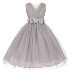 Little Girls Silver Chiffon Floral Sash Shiny Tulle Flower Girl Dress 2