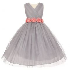 Big Girls Silver Pink Chiffon Flowers Tulle Junior Bridesmaid Dress 8-14