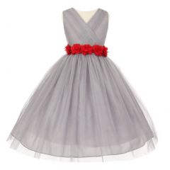 Little Girls Silver Red Chiffon Floral Sash Tulle Flower Girl Dress 2-6