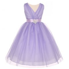 Little Girls Lilac Pleated Rhinestone Brooch Tulle Flower Girl Dress 2-6
