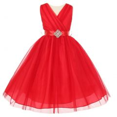 Little Girls Red Pleated Rhinestone Brooch Tulle Flower Girl Dress 2-6