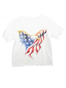 Unisex Big Kids White American Eagle Print Short Sleeve Cotton T-Shirt 6-16