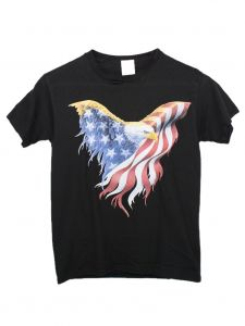 Unisex Big Kids Black American Eagle Print Short Sleeve Cotton T-Shirt 6-16
