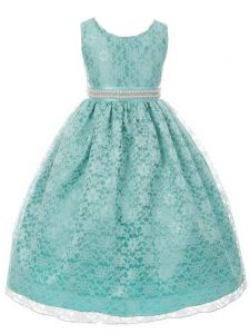 Huncho Big Girls Aqua Lace Rhinestone Adorned Junior Bridesmaid Dress 8-14