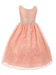 Huncho Little Girls Peach Lace Rhinestone Adorned Flower Girl Dress 2-6