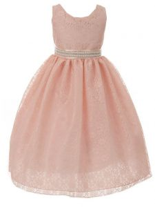 Huncho Little Girls Blush Lace Rhinestone Ribbon Flower Girl Dress 2-6