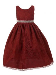 Huncho Little Girls Burgundy Lace Rhinestone Bead Trim Flower Girl Dress 2-6